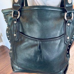 B. Makowsky black leather studded shoulder bag.